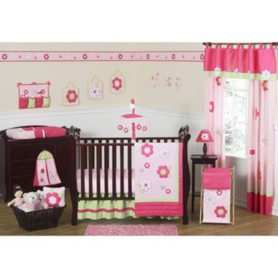 Sweet Jojo Designs Flower 11-Piece Crib Bedding Set in Pink/Green