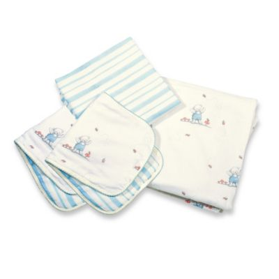 Bunnies by The Bay Cuddle Me Bear 4-Piece Blanket & Burp Set