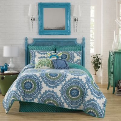 Anthology™ Bungalow Reversible Full/Queen Comforter Set in Teal