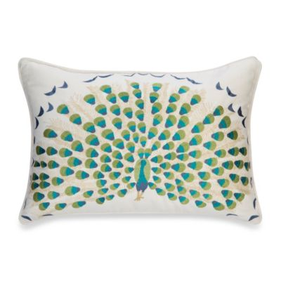 Anthology™ Bungalow Embroidered Oblong Toss Pillow in Teal/White