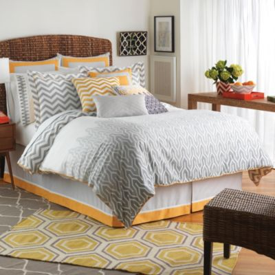 Jill Rosenwald Plimpton Flame 4-Piece Reversible Full Comforter Set