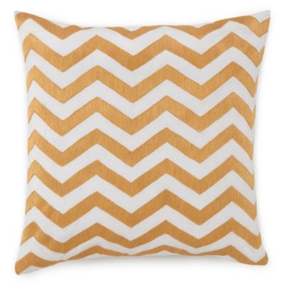 Jill Rosenwald Plimpton Flame Chevron Embroidered Square Throw Pillow