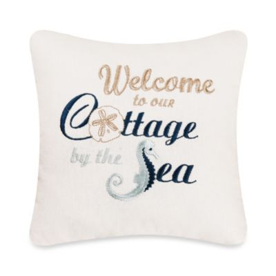 Cottage By The Sea Embroidered Square Throw Pillow