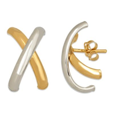 "14K White Gold and 14K Yellow Gold Polished Letter ""X"" Earrings"