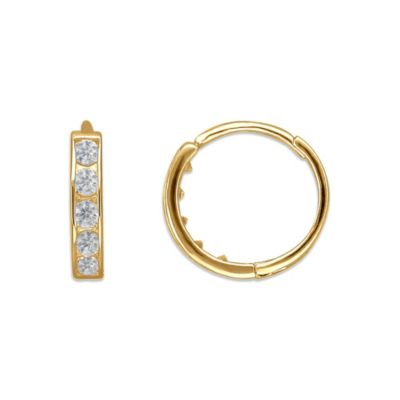 Children's 14K Yellow Gold Cubic Zirconia Hinged Hoop Earrings