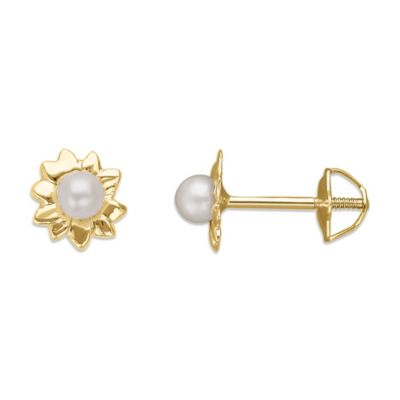 Children's 14K Yellow Gold 2.5mm Freshwater Cultured Pearl Flower Earrings