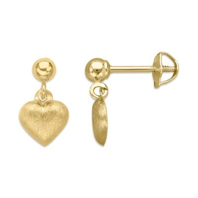 Children's 14K Yellow Gold Balltop with Florentine Heart Earrings