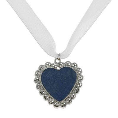 Downton Abbey® Silvetone Blue Filigree Heart Bridal Bouquet Charm