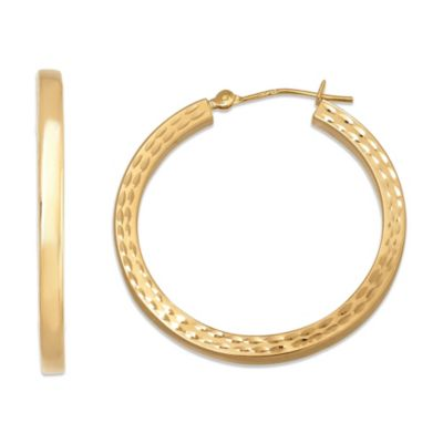 14K Gold Square Tube Hoop Earrings
