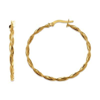 14K Gold 30mm Twisted Hoop Earrings