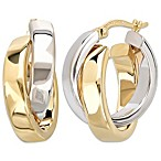 14K White Gold and 14K Yellow Gold Polished Crossover Hoop Earrings