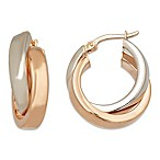 14K Rose Gold and 14K White Gold Crossover Hoop Earrings