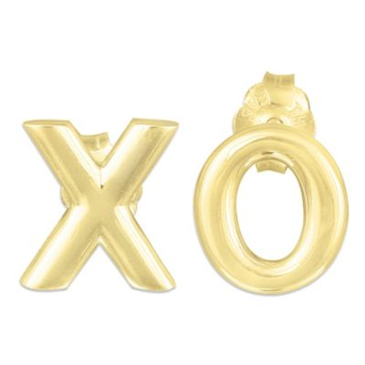 "18K Yellow Gold Over Sterling Silver ""XO"" Earrings"