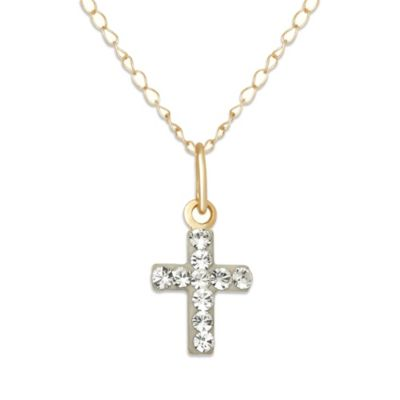 Children's 14K Yellow Gold Swarovski Crystal Cross Pendant