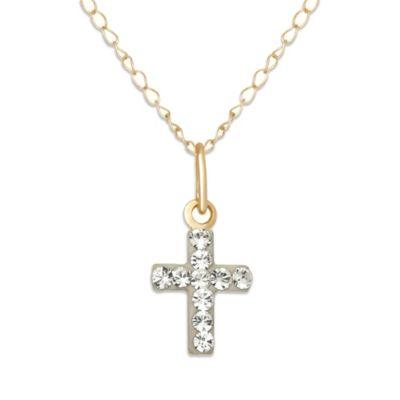 Children's 14K Yellow Gold Swarovski Crystal Cross Pendant