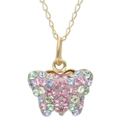 Children's 14K Yellow Gold Crystal Butterfly Pendant