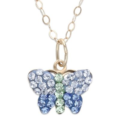 Children's 14K Gold Crystal Butterfly Pendant