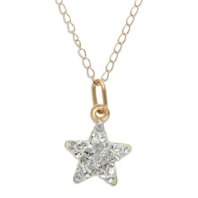 Children's 14K Gold Swarovski Crystal Star Pendant