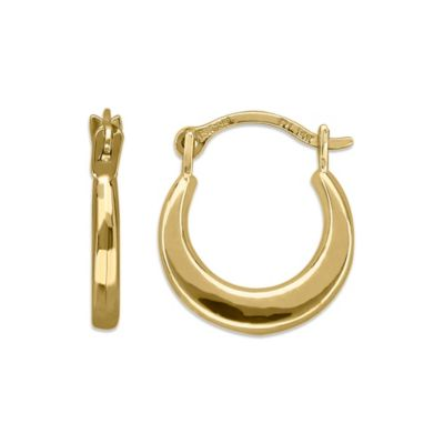 Children's 14K Yellow Gold Plain Round Hoop Earrings