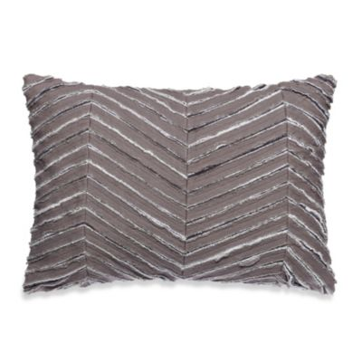 Kenneth Cole Reaction Home Mineral Raw Edge Oblong Toss Pillow in Gunmetal