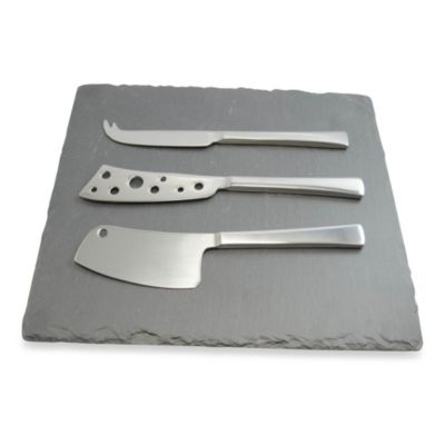 Stainless Steel Cheese Knives with Slate Board 4-Piece Set