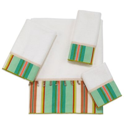 Avanti Biscayne Stripe Fingertip Towel in White