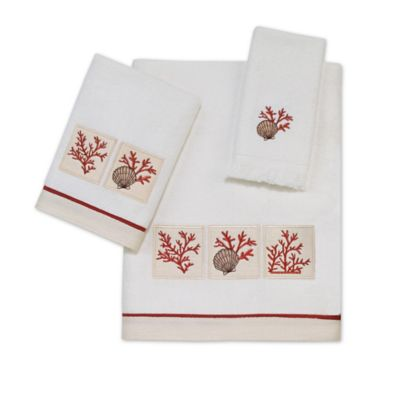 Avanti Cayman Fingertip Towel in White/Coral