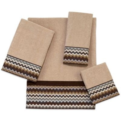 Avanti 11-Inch x 18-Inch Chevron Fingertip Towel in Brown
