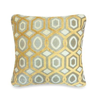 Pentagon Ogee Velvet Pillow in Gold