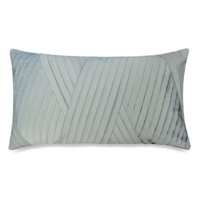 Diagonal Pleat Oblong Toss Pillow in Blue