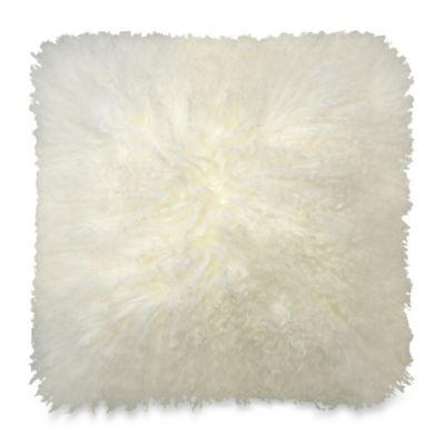 Mongolian Lamb Throw Pillow in Cream