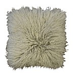Mongolian Lamb Square Toss Pillow in Silver