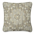 Metallic Damask Toss Pillow in Ivory/Taupe