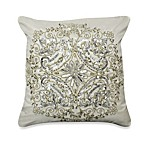 Silvermist Beaded Square Toss Pillow in Cream