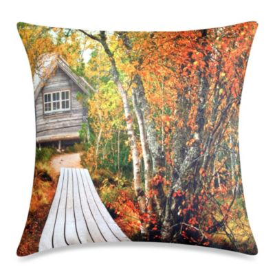 Cabin Path Square Throw Pillow