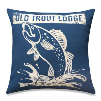 Trout Lodge Square Throw Pillow