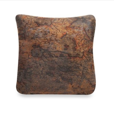 Saddle Faux-Leather Square Throw Pillow
