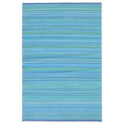Lido 5-Foot x 7-Foot 6-Inch Patio Mat in Blue Stripe