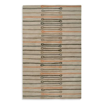 Anna Redmond Floral Beige Stripes 2-Foot x 3-Foot Area Rug