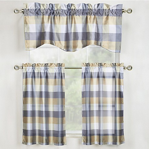buy mystic plaid kitchen window curtain tier pair and valance in grey from bed bath & beyond