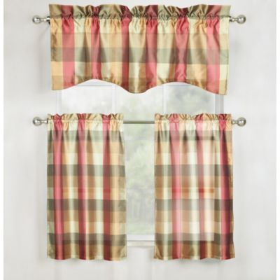 Mystic Plaid Kitchen Window Curtain Tier Pair and Valance in Jewel