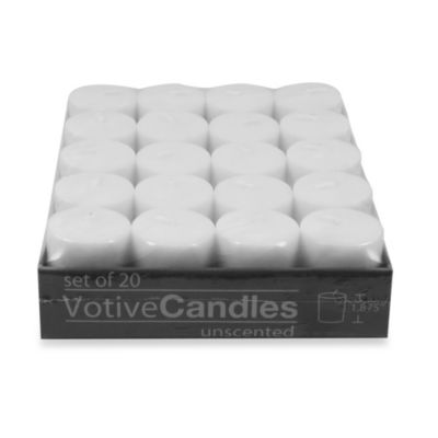 Unscented Votive Candles in White (Set of 20)