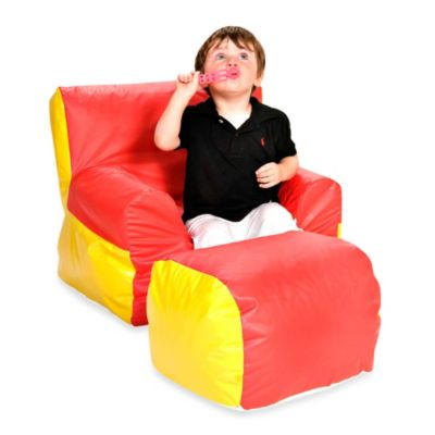 Foamcraft Foamnasium™ Soft-E-Boy Chair and Ottoman Set in Red/Yellow