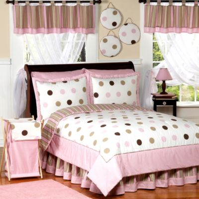 Sweet Jojo Designs Mod Dots 4-Piece Twin Comforter Set in Pink/Chocolate