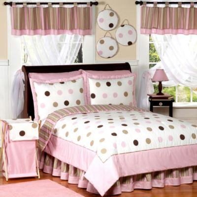 Sweet Jojo Designs Mod Dots Comforter Set in Pink/Chocolate