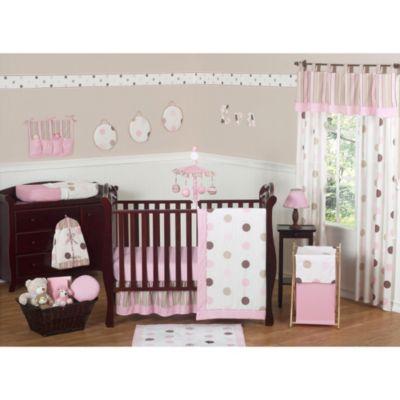 Sweet Jojo Designs Mod Dots Collection 11-Piece Crib Bedding Set in Pink/Chocolate