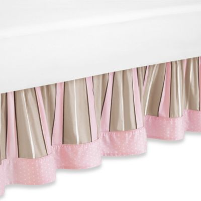 Sweet Jojo Designs Pink and Chocolate Mod Dots Toddler Bed Skirt
