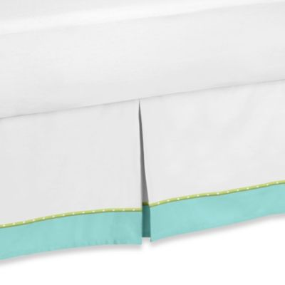 Sweet Jojo Designs Hooty Queen Bed Skirt in Turquoise and Lime