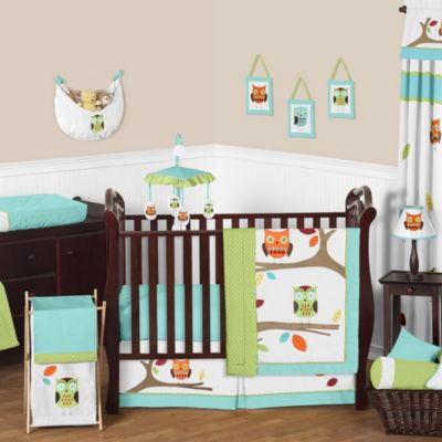 Sweet Jojo Designs Hooty 11-Piece Crib Bedding Set in Turquoise/Lime