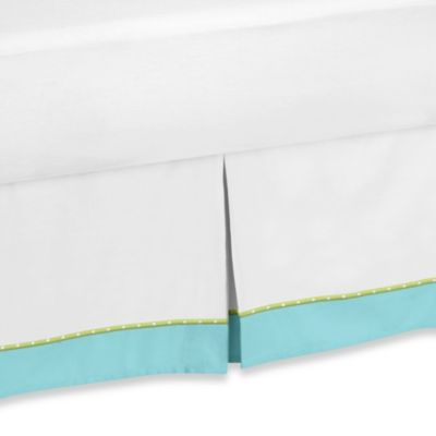 Sweet Jojo Designs Hooty Toddler Bed Skirt in Turquoise/Lime